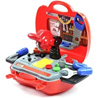 Red and Blue Plastic Simulation Repair Tools Set Craftsman Pretend Play Toys Tool Box Children Gift for Kids Boys 4x10x23cm