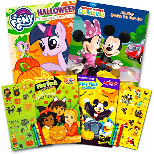Disney Halloween Coloring Book Super Set for Kids Toddlers -- 3 Books Featuring Minnie Mouse, Mickey Mouse, My Little Pony and More (Includes Crayons and Stickers) -