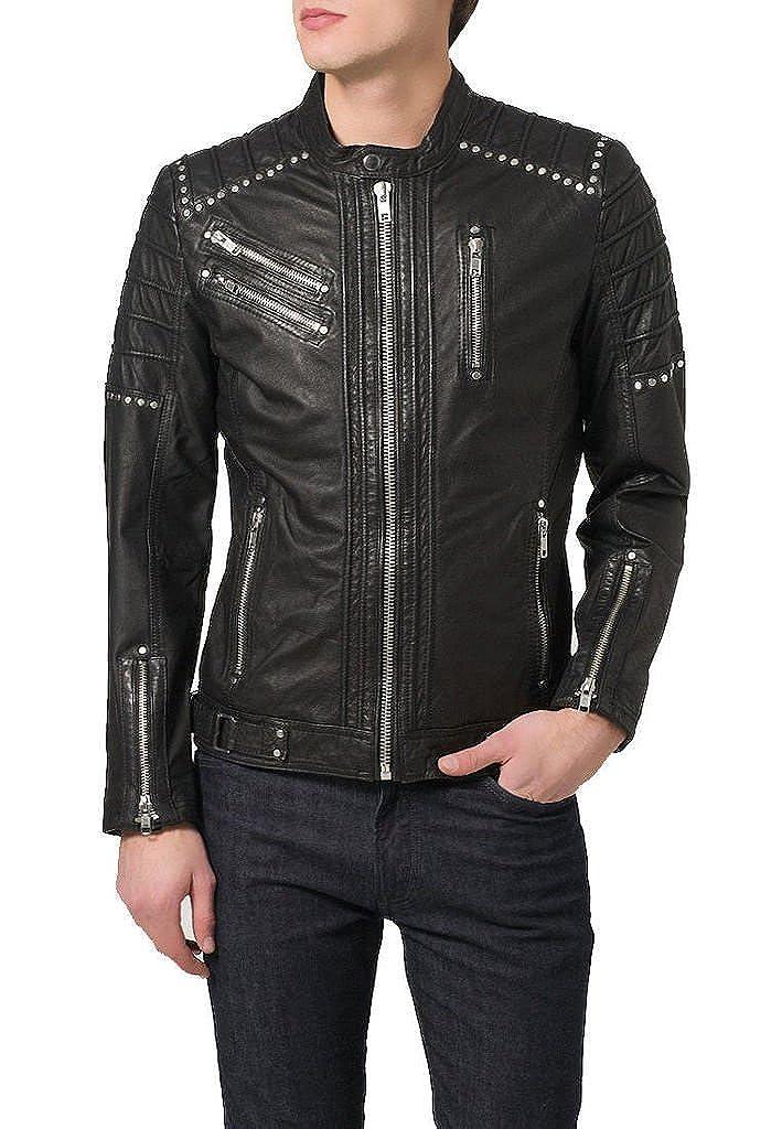 New Mens Leather Jacket Black Slim Fit Genuine Lambskin Biker Motorcycle KL098