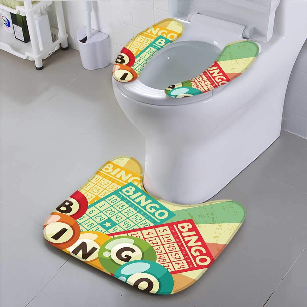Leighhome Toilet Cushion Suit Bingo Game with Ball and Cards Pop Art Stylized Lottery Hobby Celebration Theme Non Slip Comfortable