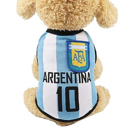 Newin Star Pequeña Ropa para Perros de fútbol de Malla Transpirable Camiseta Aficionados Perros Traje Nacional
