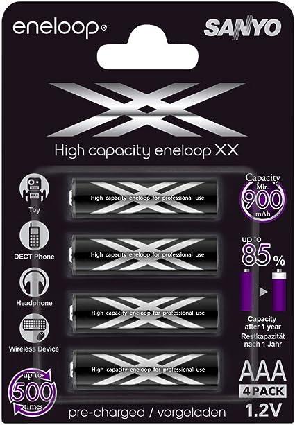 Eneloop Sanyo HR-4UWXB-4BP - Pack de 4 pilas recargables AAA (900 mAh): Eneloop: Amazon.es: Electrónica