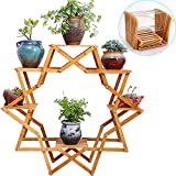 TINTON LIFE Creative Multilayer Wooden Plants Flower Stand Indoor And Outdoor Balcony Living Room Plants Pots Shelf