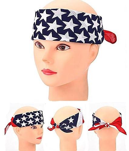 3pcs bandiera americana Stars Stripes turbante Twisted allenamento da  parrucchiere capelli Band Biker alla moda con c437d5fff857