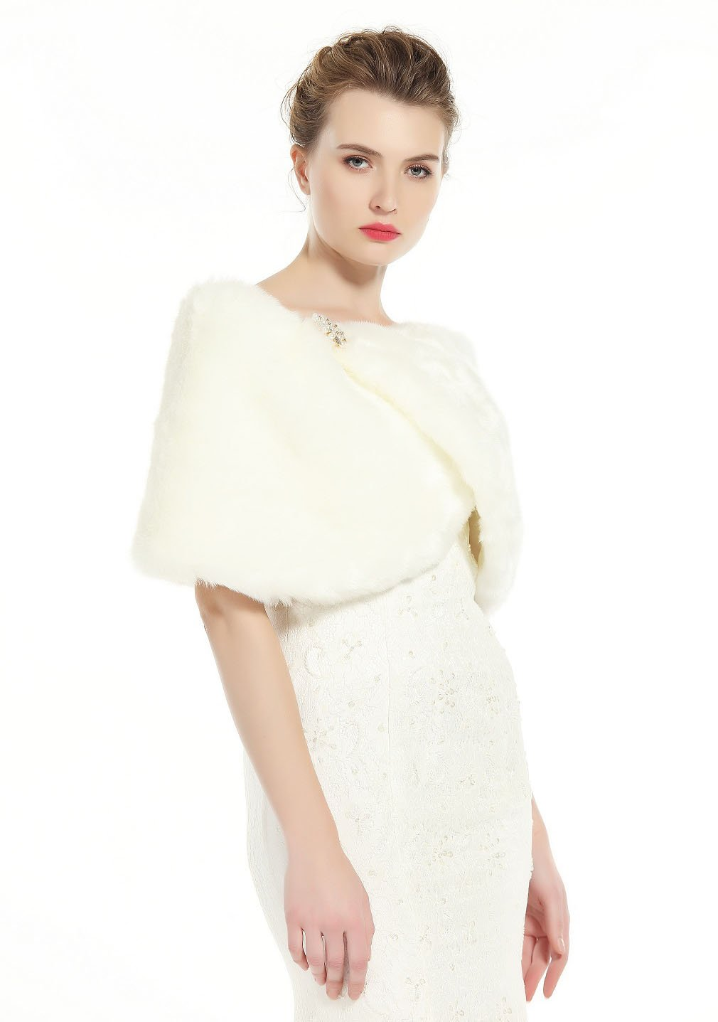 Faux Fur Wrap Shawl Women's Shrug Bridal Stole for Winter Wedding Party Free Brooch Ivory by BEAUTELICATE (Image #4)