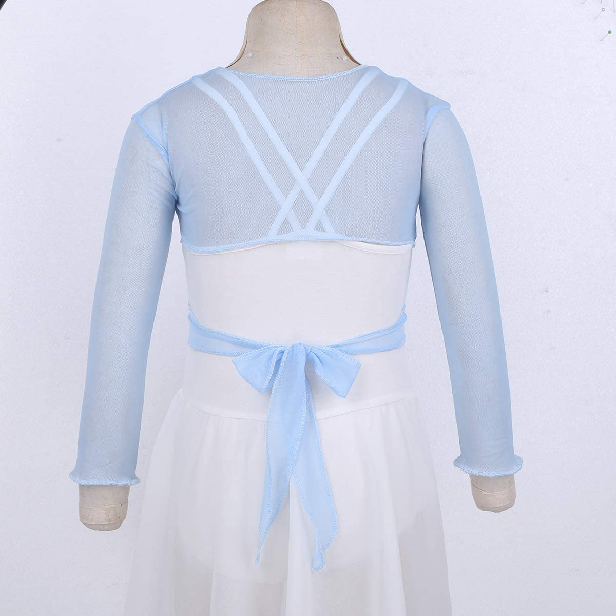 YOOJIA Kids Girls Long Sleeve Ballet Wrap Crop Tops Sweater Gymnastics Warm-up Dance wear Dress Cardigan Bolero