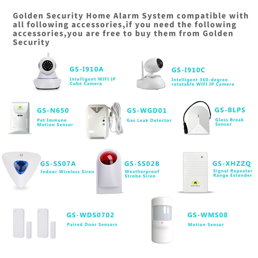 Golden Security Home Alarm System 2G / WIFI with Alexa , Auto Dial, APP remote control, Compatible with other Golden Security Accessories S1-Plus by Golden Security (Image #6)