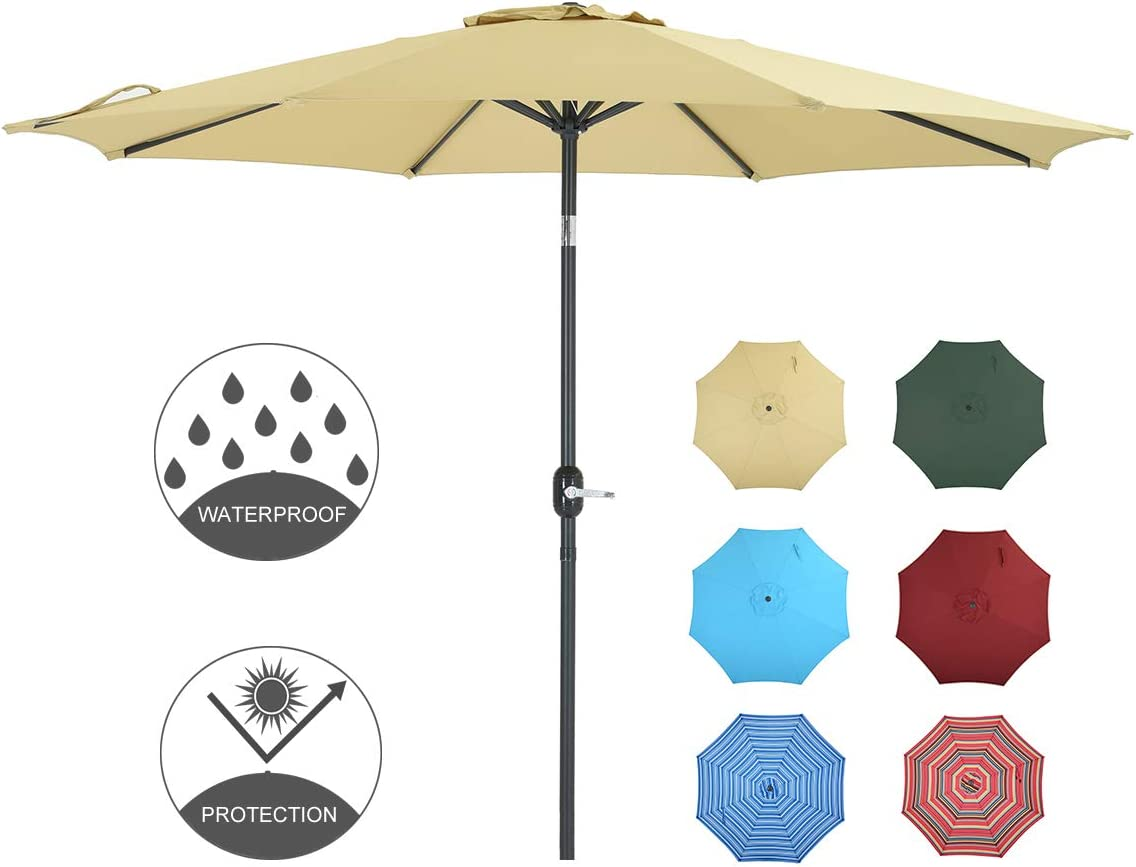 Patio Watcher 9 Feet Patio Umbrella Outdoor Umbrella with Push Button Tilt and Crank for Market, Backyard, Pool, Garden, Deck, 8 Ribs, Beige