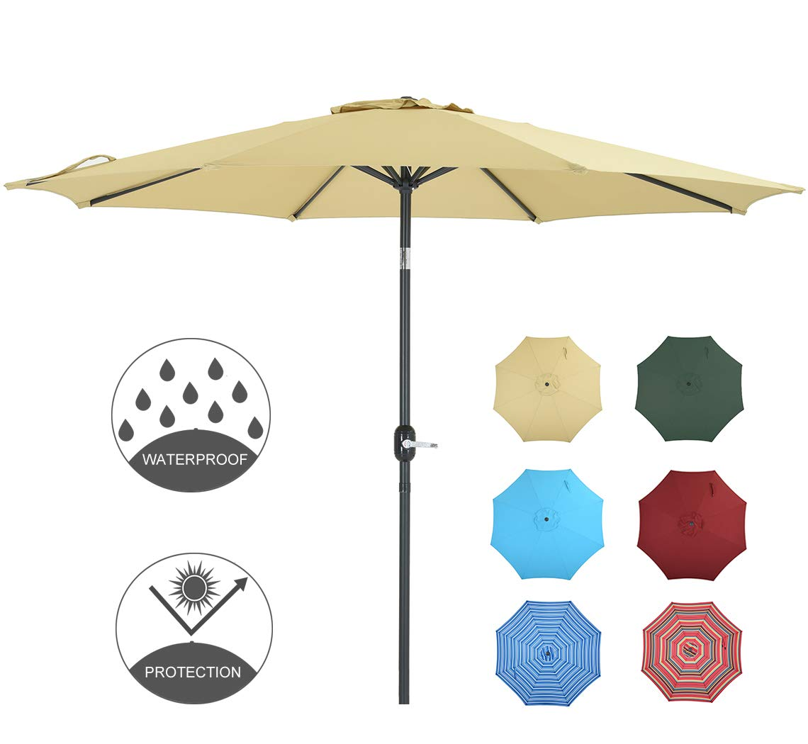 PATIO WATCHER 9 Feet Patio Umbrella Outdoor Umbrella with Push Button Tilt and Crank for Market, Backyard, Pool, Garden, Deck, 8 Ribs, Beige