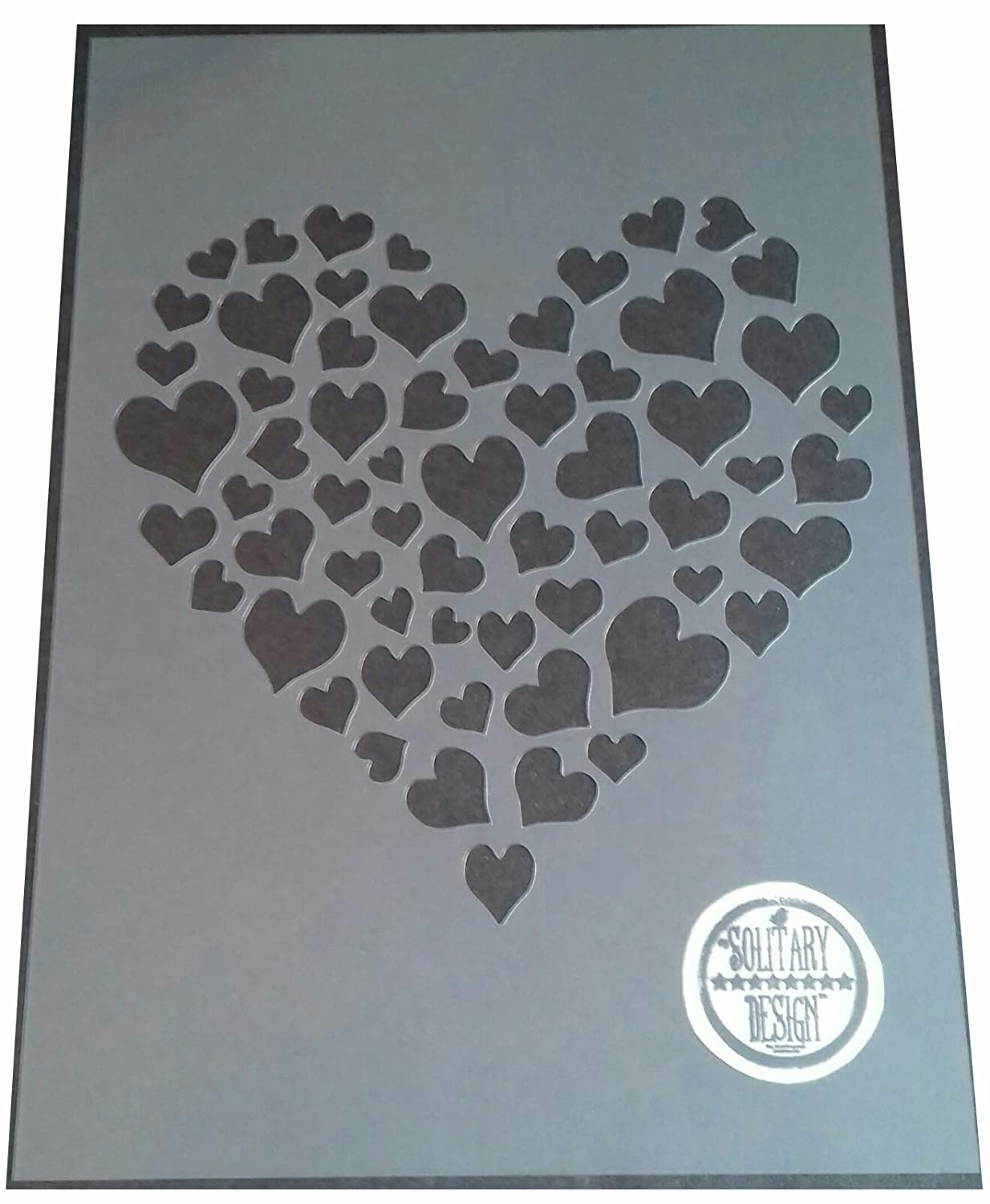 Solitarydesign Shabby Chic Stencil Heart of hearts Rustic Mylar Vintage style A4 297x210mm Wall art
