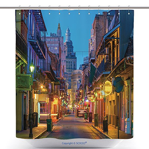 vanfan-Durable Shower Curtains Pubs Bars Neon Lights in The French Quarter New Orleans USA Polyester Bathroom Shower Curtain Set Hooks(72 x 72 inches)]()