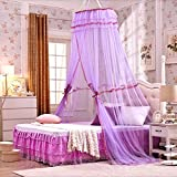 Luxury Mosquito Net Bed Canopy Universal Hanging Round Princess Lace Mosquito Net Bed Canopy, Full Hanging Kit Set, For Home or Travel Use (Purple)