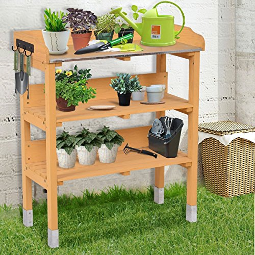 Potting Hooks - Giantex 3 Tier Wooden Potting Bench Garden Planting Workstation Shelves W/3 Hooks(Tawny 3 Tier)