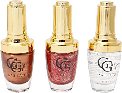 Gorgeous Girl Glossy Nail Lacquer Set of 3-15ml, Multi Color