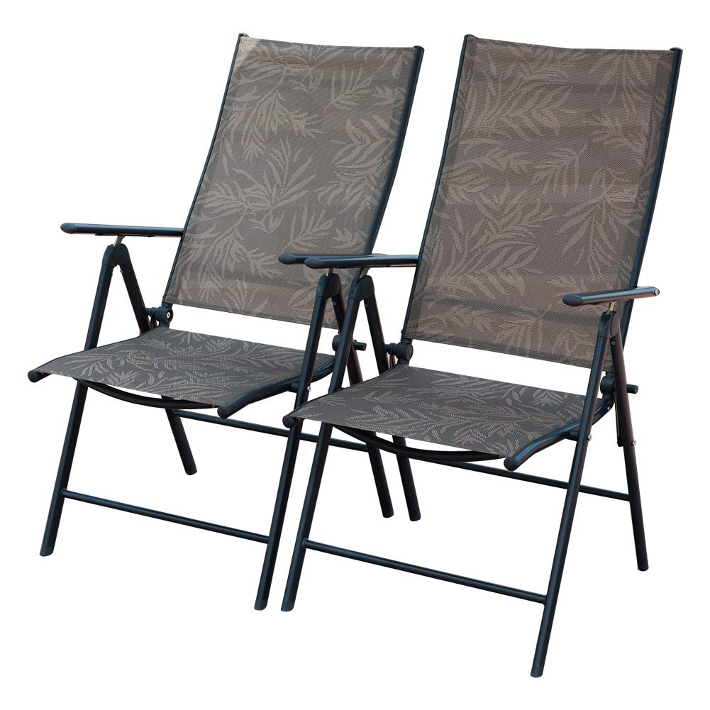 koonlert14 Outdoor Patio Folding Double Bungee System Chair Sturdy Steel Frame Lightweight Comfortable Durable Textaline Fabric Porch Garden Furniture Blue #1940