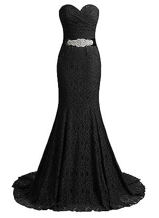 29c36c176de3 Monalia Women s Sweetheart Lace Mermaid Wedding Dress Removable Diamond  Belt Gown (Size 2
