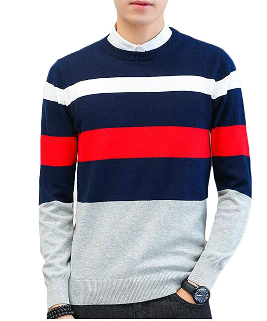 Hajotrawa Men Vogue O-Neck Knitted Spell Color Stripe Pullover Sweaters