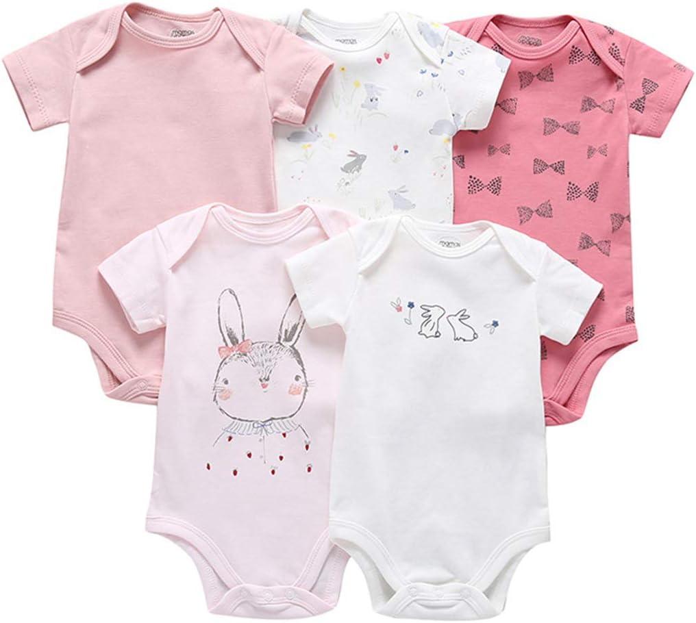 Pack de 5 Beb/é Ni/ñas Body Mono de Manga Corta Mameluco Algod/ón Peleles Comodo Pijama Regalo de Recien Nacido