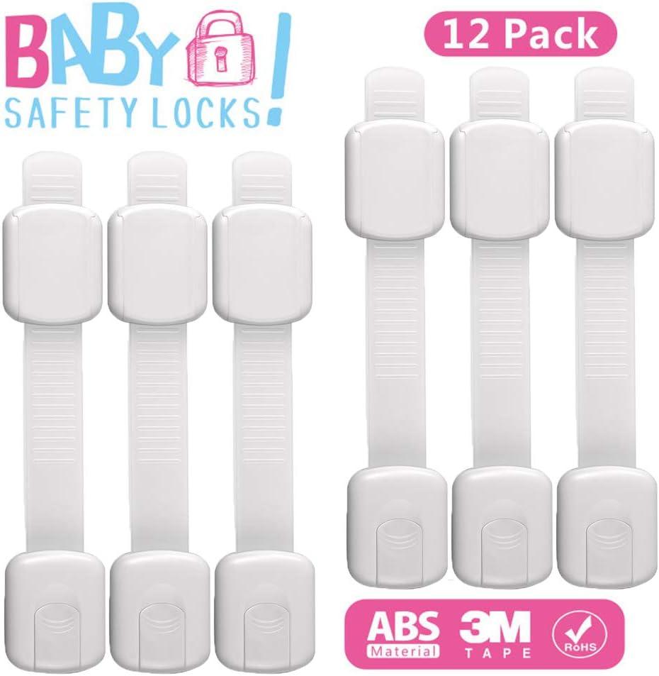 blanc Lot de 2 serrures de s/écurit/é pour enfants avec adh/ésif 3M