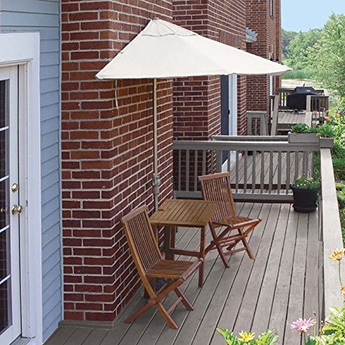 Wall Natural Olefin Umbrella (Blue Star Group Terrace Mates Villa Economy Table Set w/ 7.5'-Wide OFF-THE-WALL BRELLA - Natural Olefin Canopy)