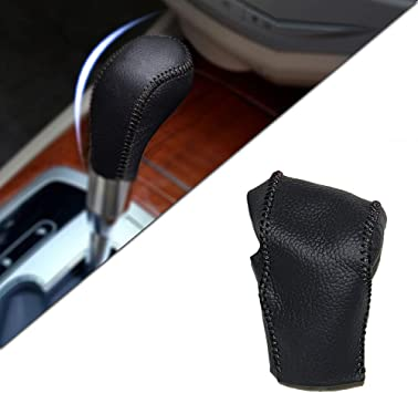 for Buick Auto at Excelle 04-12 Gear Shift Knob Shifter Lever Leather Cap Knob Protect Cover Insert Replacement Black Type M