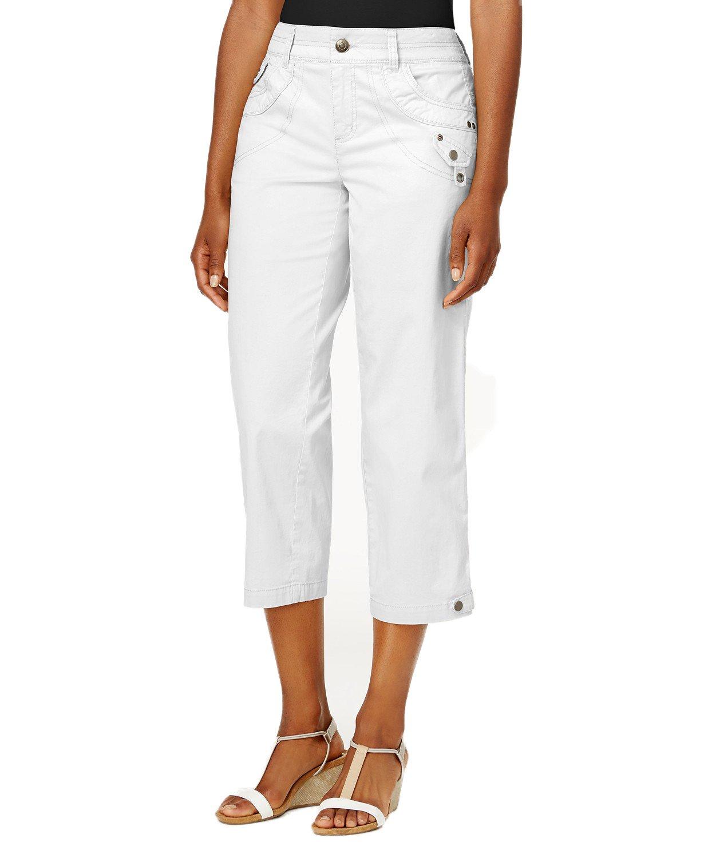 Style & Co. Classic Tab-Pocket Capri Pants (White, 14P)