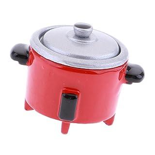 MagiDeal Pentole Fornello Cucire Riso Elettrico Fornitura Vassoio Stoviglia Cucina Accessori per Dollhouse - Rosa