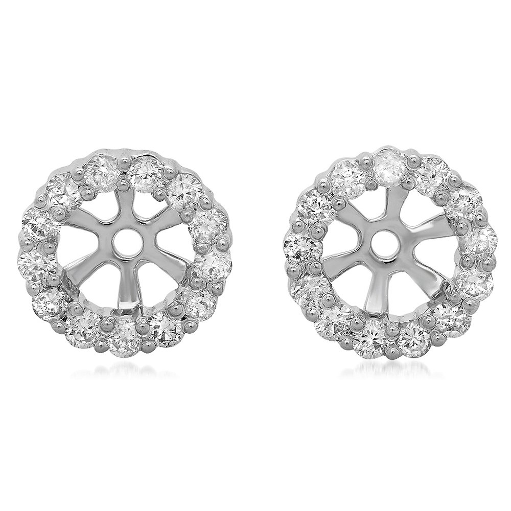 0.50 Carat (ctw) 18K White Gold Round Diamond Cluster Style Removable Jackets For Stud Earrings 1/2 CT by DazzlingRock Collection