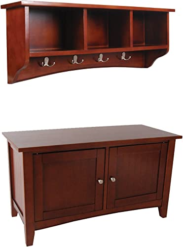Shaker Cottage Wall Mounted Coat Hook with Cubbies and Storage Bench Cabinet Set, Cherry