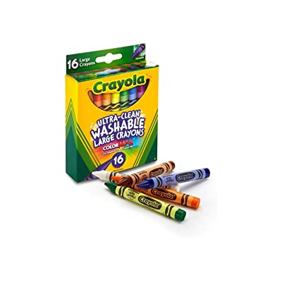 Crayola 52-3281 Large Washable Crayons Assorted Colors 16 Count (Pack of 2): Toys & Games