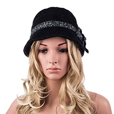 c62c2abb91d61 Women Thick Warm Wool Winter Hat 1920s Vintage Flapper Cloche Hats ...