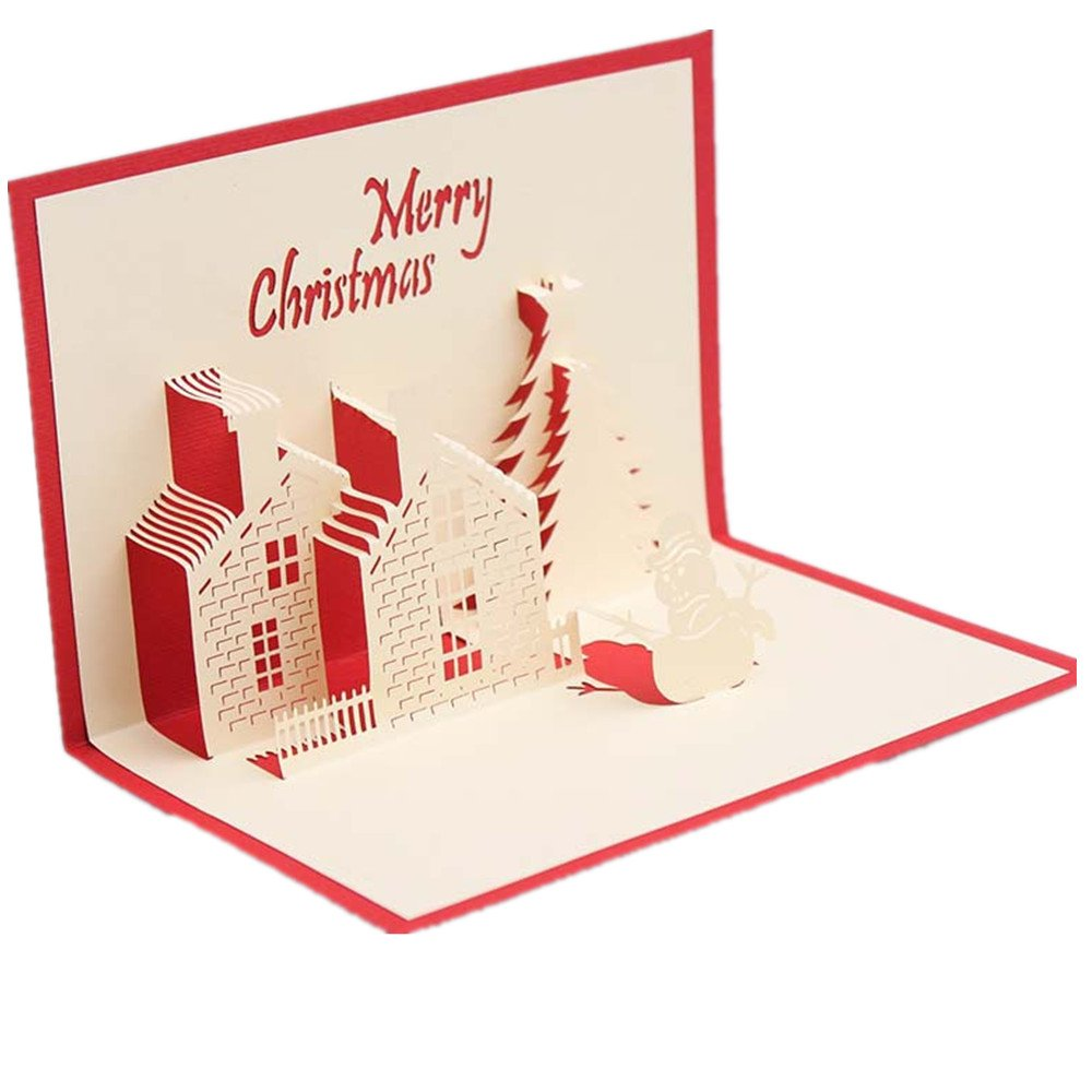 3D Pop Up Christmas Cards for Best Wishes in Christmas, Birthday, Festival,Thank You,Anniversary and More Including Chirstmas Tree,Reindeer,Bell Ba Yue Ke Ji