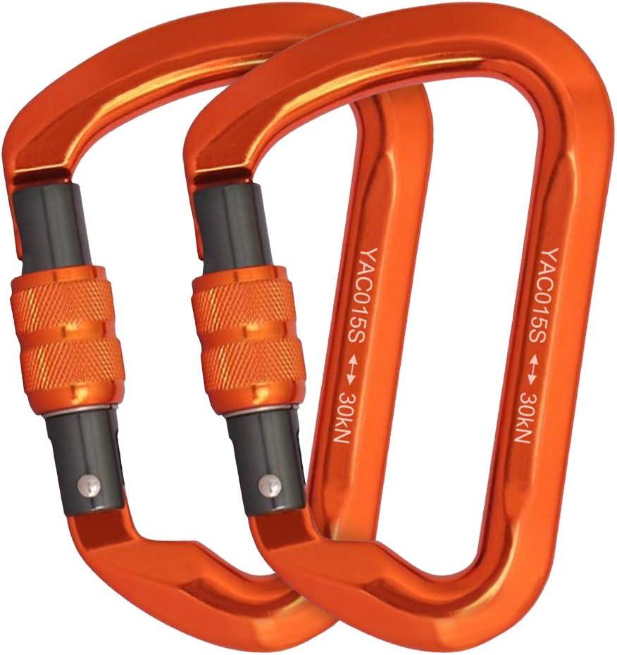 Lot de 8 mousquetons en forme de D en acier inoxydable tr/ès r/ésistants avec fermoir /à cha/îne pour lescalade le levage le camping