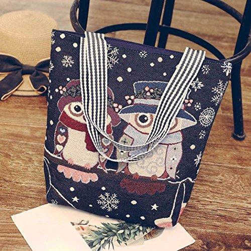 Sansee Canvas A Women's Navy Tote Beige I Shoulder Bag Messenger Cartoon Ladies Satchel Handbag Bags Owl ArA54xO