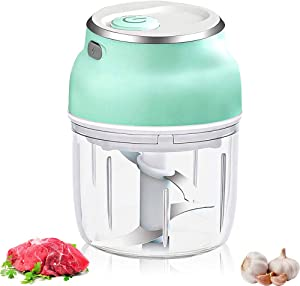 Electric Food Chopper, Green Mini Electric Garlic Chopper, Cordless Portable Small Food Chopper for Garlic, Fruits, Vegetables, Onions, Ginger, Meat, Baby Food, Fast Chip Piece in Seconds