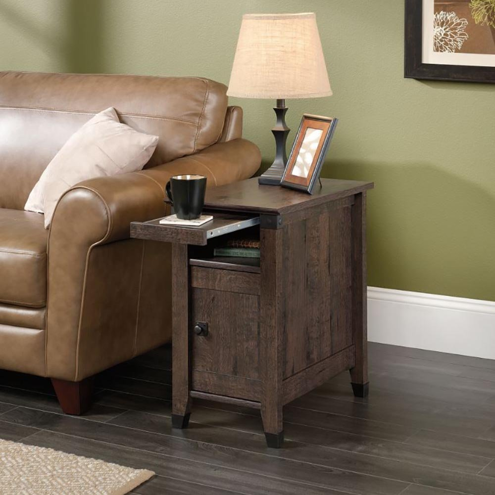 Amazon.com: Sauder 420422 Carson Forge Coffee Oak Side Table: Kitchen U0026  Dining