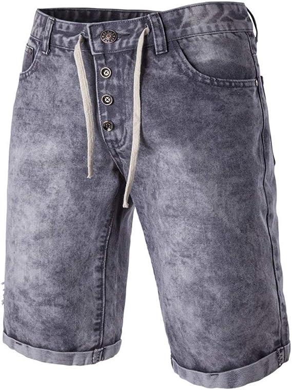 メンズジップワイドパンツ 古い洗浄したデニムショートパンツメンズカジュアルデニムパンツを実行します。 エフェクトライトウォッシュ (Color : Grey, Size : M)