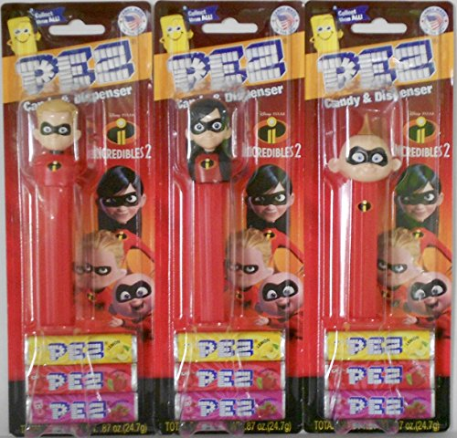 Incredibles 2 Three Character Pez Dispenser Bundle: Dash & Violet & Jack-Jack on Blister Cards w/3 rolls of Candy Each ()