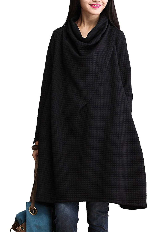 Vogstyle Frauen New Wasserfallausschnitt Langarm Kleid