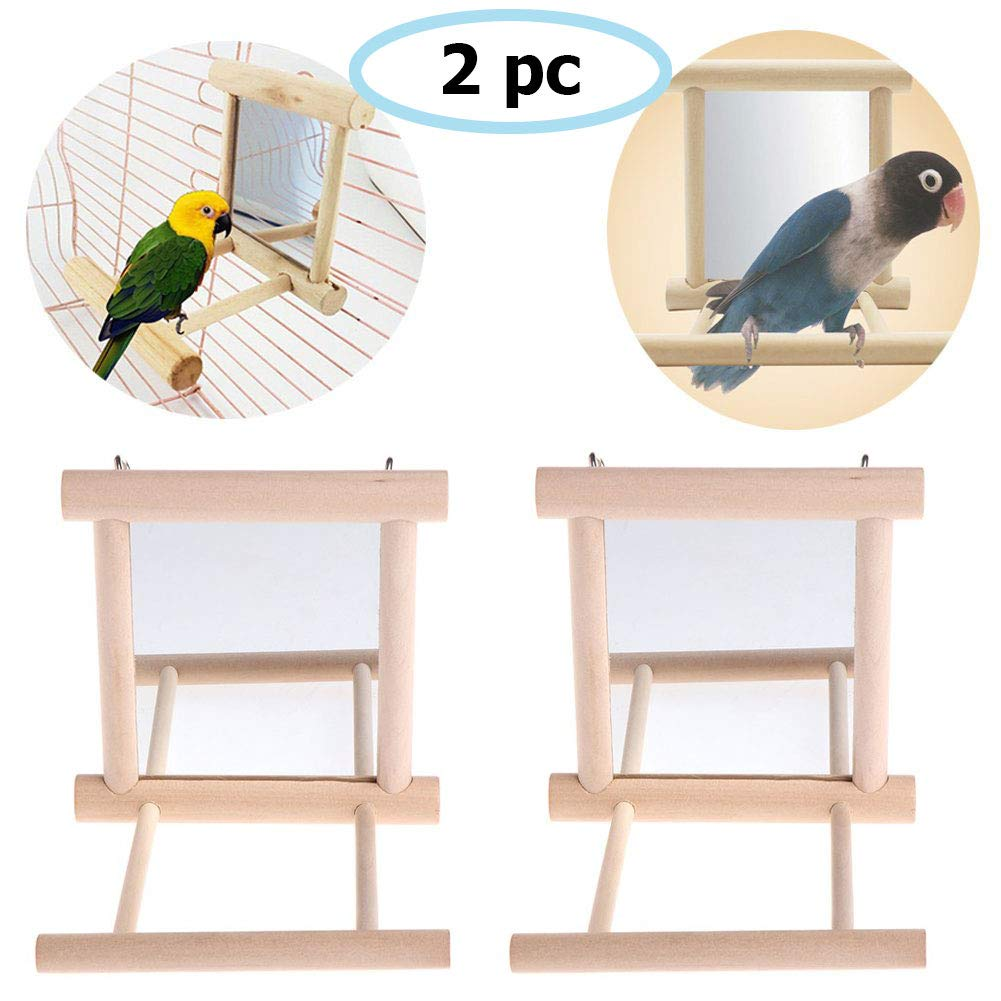 Old Tjikko Bird Swing, Parrot Cage Toys,Swing Hanging Play with Mirror for Greys Parakeet Cockatoo Cockatiel Conure…