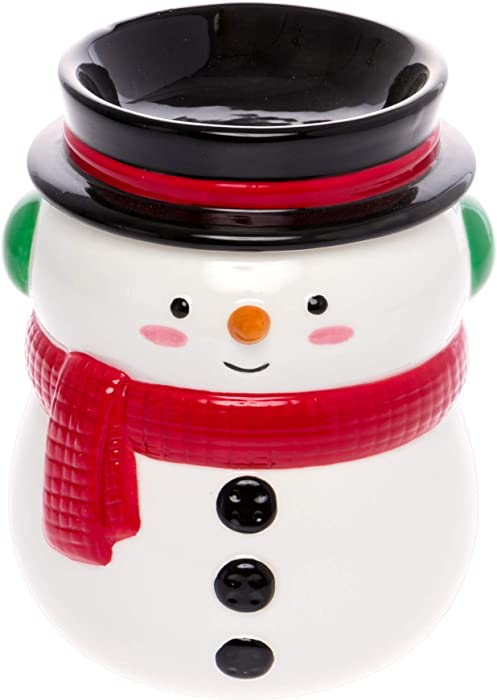 Mindful Design - Holiday Themed Snowman Electric Wax Warmer - Light-Up Christmas Pluggable Home Fragrance Wax Melter for Home and Office