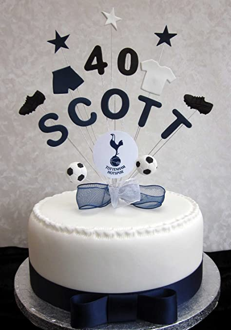 Personalised Tottenham Spurs Football Birthday Cake Topper Any Name