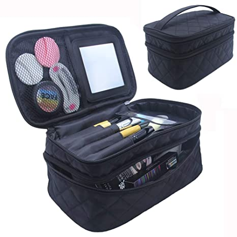 3761eb5e7d85 Travelmall Makeup Case Cosmetic Makeup bag Brush Holder Organizer large  double layer Makeup pouch with Mirror