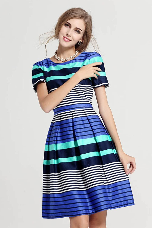 Purpura Erizo Womens Stylish Multicoloured Stripes Summer Slim Cool Dress