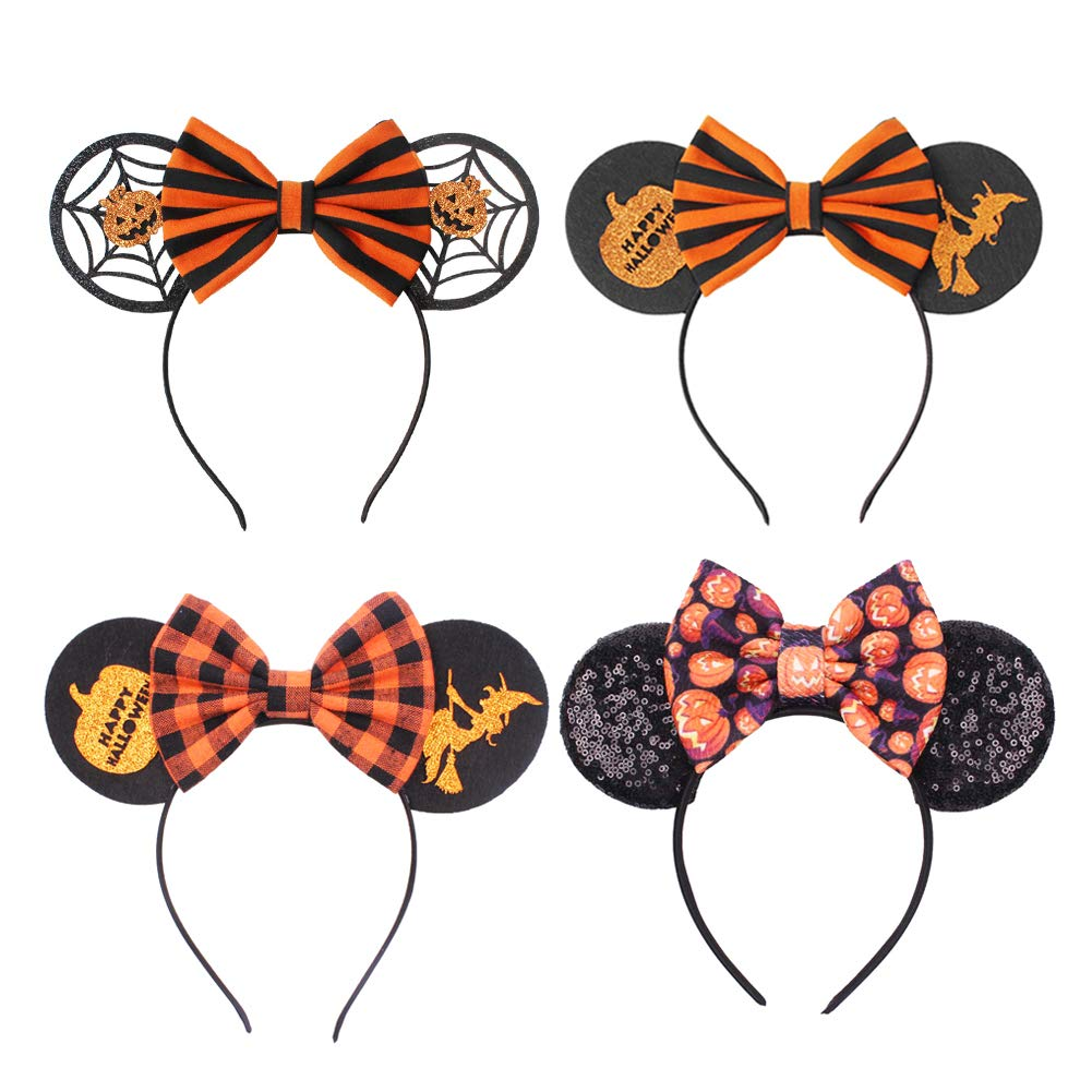 Halloween Bow Headbands Caps Party Witch Pumpkin Mouse Ear Headwears for Halloween Party Carnivals Fancy Magic Hat by Icepark