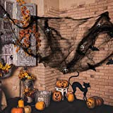 Anear K2519A7 Halloween Spider Webs Stretchable Cobwebs with 20 Fake Spider for Halloween Indoor & Outdoor Decorations, Black