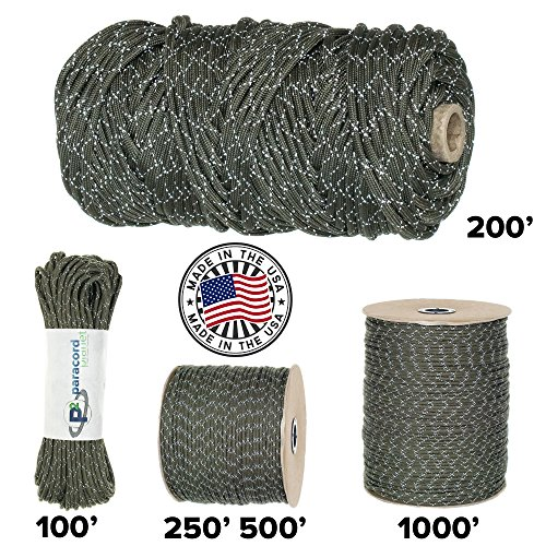 (Paracord Planet 700lb Criss Cross Double-Reflective Paracord - 2 Bright Retro-Reflective Tracers for the Best in High-Visibility Cord - 100% Nylon Cord is Made in the USA)
