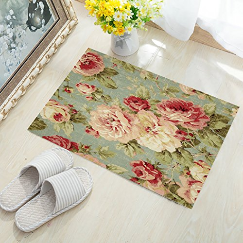 KAROLA Doormats Welcome Mats/Indoor/Front Door/Bathroom Mats Rugs for Home/Office/Bedroom Non Slip Backing Machine Washable - Antique Flowers, 30'' x 18'' by KAROLA