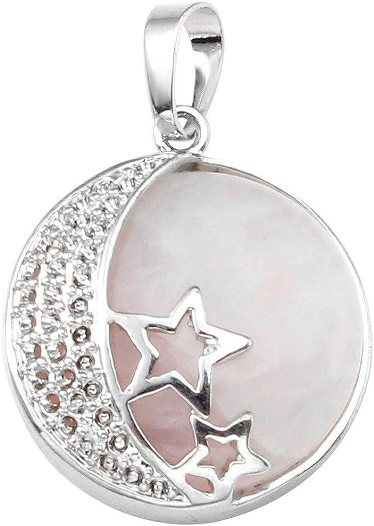 Jovivi - Collar con colgante de piedra de amatista natural, con diseño de luna y estrellas, chakra, reiki, curativas, para mujer