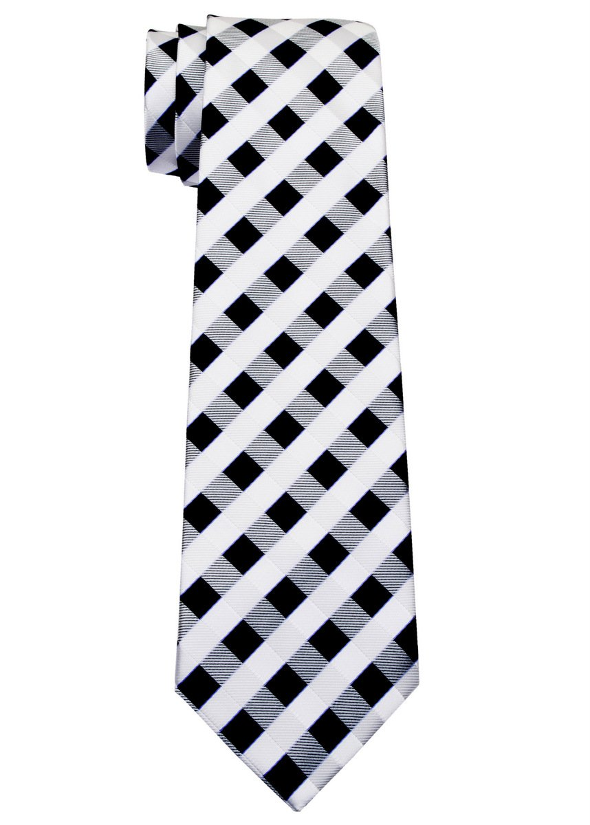 Retreez Classic Check Woven Microfiber Boy's Tie (8-10 years) - Black and White Check